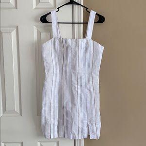 tan and white striped dress